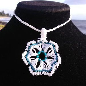White & Turquoise Ocean Flower Macrame Necklace